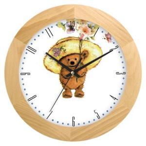 Zegar drewniany solid Miś z bukietem - 2827615254