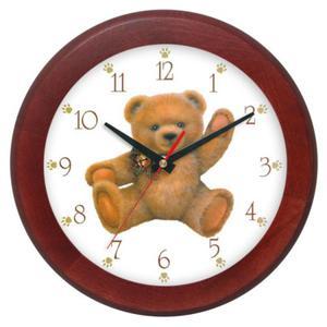 Zegar drewniany rondo Miś z kokardą - 2827615255