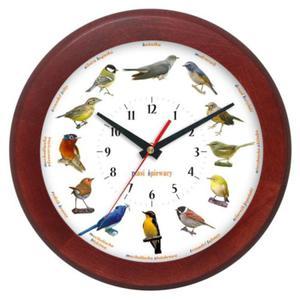 Zegar głosy ptaków drewniany rondo #1B - 2827615294