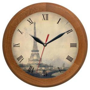 Zegar drewniany rondo Wieża Eiffla - 2827615313
