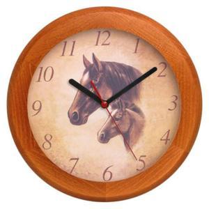 Zegar drewniany rondo Koniki - 2827615316