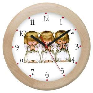 Zegar drewniany rondo Aniołki - 2827615343