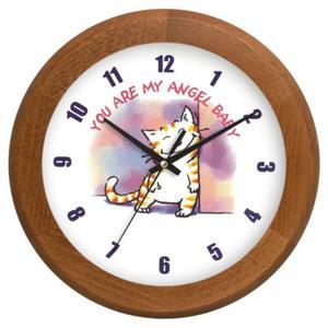 Zegar drewniany rondo zalotny kotek - 2827615345