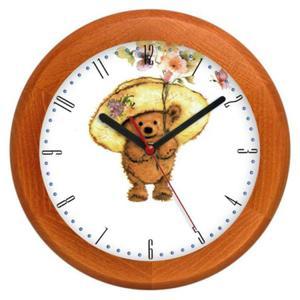 Zegar drewniany rondo Miś z bukietem - 2827615346