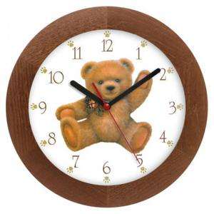 Zegar drewniany solid Miś z kokardą - 2827615347