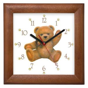 Zegar drewniany kwadrat Miś z kokardą - 2827615348