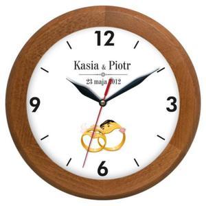 Zegar pamiątka ślubu drewniany II - 2827615382