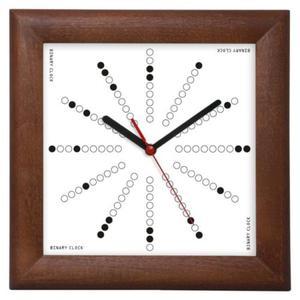 Zegar drewniany kwadrat Binarny - 2827615402