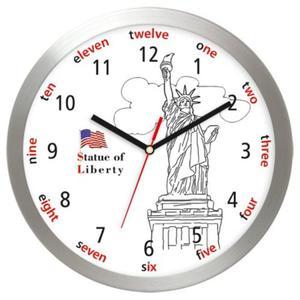 Zegar ścienny aluminiowy Statua Wolności - 2827615443
