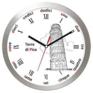 Zegar ścienny aluminiowy Krzywa Wieża w Pizie - 2827615447