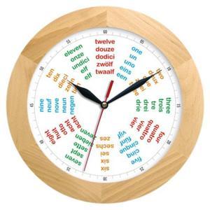Zegar ścienny drewniany solid Poliglota - 2827615448