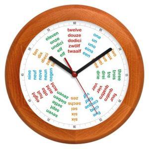 Zegar ścienny drewniany round Poliglota - 2827615449