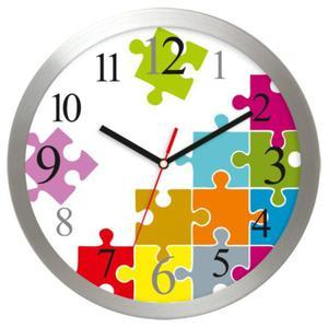 Zegar ścienny aluminiowy Puzzle - 2827615454