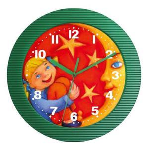 Zegar naścienny falisty dziewczynka z księżycem - 2827615463