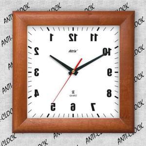 Anty zegar kwadrat drewniany lustro #1 - 2827615079