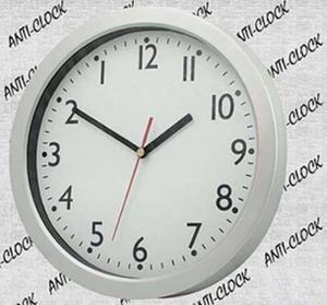 Srebrny zegar ścienny REVERSE - 2827615080