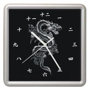 Zegar ścienny kwadrat Chiński Smok - 2827615143