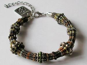 bransoletka na bazie oliwka zieleń brąz - 2827492423