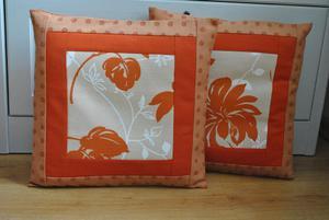 Komplet poszewek patchworkowych - rude kwiaty - 2837883457