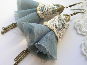 Cream lace - kolczyki vintage - 2827496116
