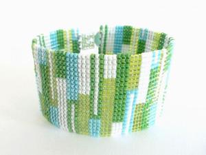 Pastelowy patchwork - bransoletka koralikowa - 2827498880