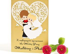 Kartka ślubna z Parą Młodą z sercem w tle - 2827503737