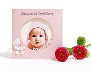 """Ekskluzywne zaproszenie na Chrzest Święty z wycinanym imieniem """"Moja miłość"""" ze zdjęciem kolor różówy - 2827508522"""
