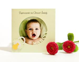 """Ekskluzywne zaproszenie na Chrzest Święty z wycinanym imieniem """"Moja miłość"""" ze zdjęciem kolor pastelowy zielony - 2827508564"""