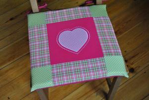 Poduszki na krzesła,siedziska-serce - fuksja 4szt