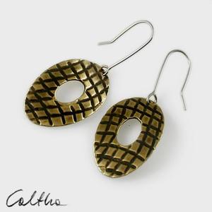 Owale w kratkę - mosiężne kolczyki