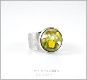 Pierścionek - Żółty kwiat - kolor srebrny - 2827521345