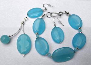 Jadeit błękitny i srebro. Zestaw biżuterii 3szt - 2827526070
