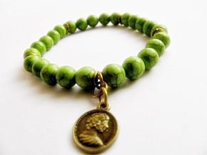zielona bransoletka z howlitu - 2827527360