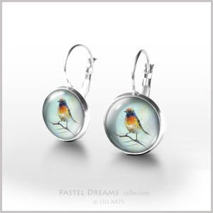 Kolczyki - Kolorowy ptak - bigle angielskie - 2827529718