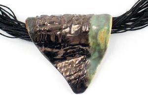 Naszyjnik ceramiczny, Naszyjnik lniany z ceramiką - 2827537256