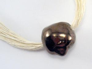 Naszyjnik ceramiczny, Naszyjnik lniany z ceramiką - 2827537358