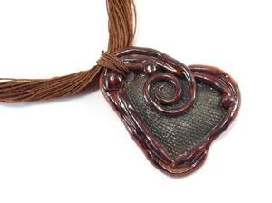 Naszyjnik ceramiczny, Naszyjnik lniany z ceramiką - 2827538999