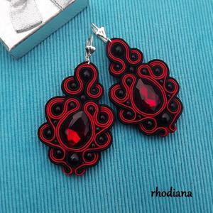 Czerwono Czarne z Kryształkami kolczyki - 2841648107
