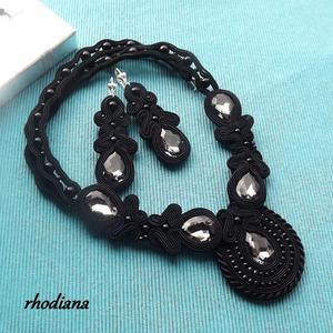 Black LOVE- wyjątkowy naszyjnik + kolczyki - 2834170385