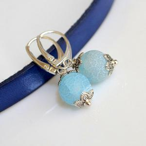 Kolczyki agat blue + srebrne bigle - 2836506841