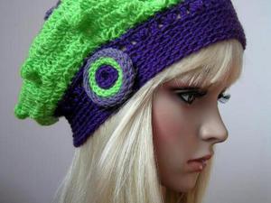 Fioletowo - zielony modny berecik - 2838776774