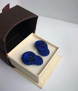 Granatowe - mini kolczyki sutasz - 2845077737