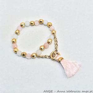 Pierścionek Jadeit różowy -model 1 - 2876575013