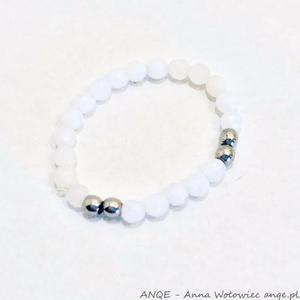 Pierścionek elastyczny Jadeit biały -model4 - 2876833158