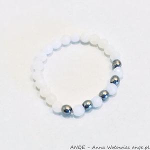 Pierścionek elastyczny Jadeit biały -model5 - 2876833169