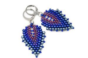 Kolczyki koralikowe łezki Toho stal niebieski - 2882774544