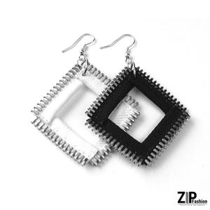 Kolczyki kwadraty black&white - 2891672677