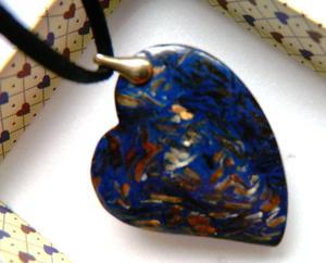 Szafirowy jaspis z bornitem, serce w z - 2861157824