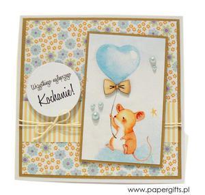 Kartka na urodziny dziecka myszka z balonem - 2861162260