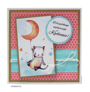 Kartka na urodziny dziecka kotek z balonikiem - 2861162286
